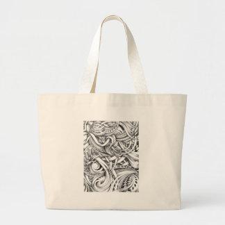 Líneas abstractas de Swirly del Doodle sombreadas Bolsa Tela Grande