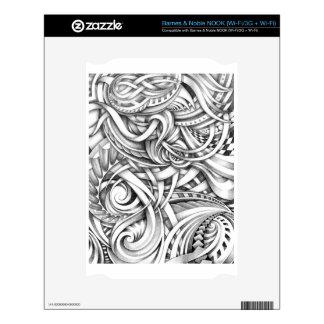 Líneas abstractas de Swirly del Doodle sombreadas Calcomanía Para NOOK