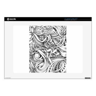 Líneas abstractas de Swirly del Doodle sombreadas Calcomanías Para 38,1cm Portátiles