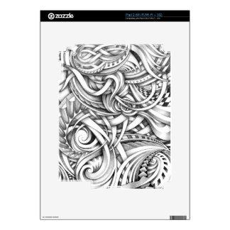 Líneas abstractas de Swirly del Doodle sombreadas Calcomanías Para El iPad 2