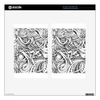 Líneas abstractas de Swirly del Doodle sombreadas Kindle Fire Pegatinas Skins