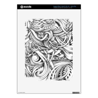 Líneas abstractas de Swirly del Doodle sombreadas Pegatinas Skins Para iPad 3