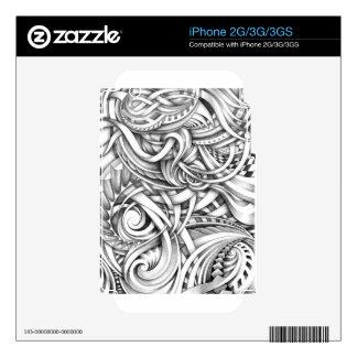 Líneas abstractas de Swirly del Doodle sombreadas Skin Para El iPhone 2G
