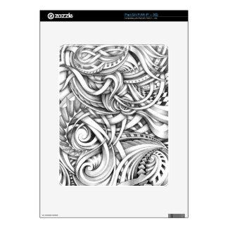 Líneas abstractas de Swirly del Doodle sombreadas Skins Para iPad