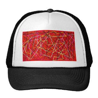 Líneas abstractas rojas gorro