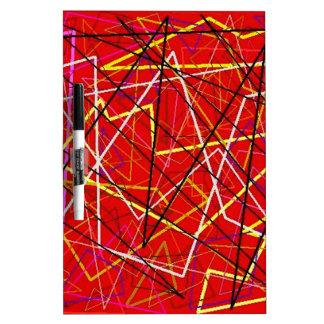 Líneas abstractas rojas tableros blancos