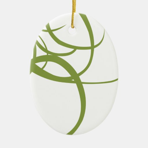 Líneas abstractas verdes y blancas adorno ovalado de cerámica