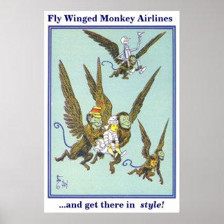 Líneas aéreas coas alas mosca del mono impresiones