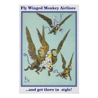 Líneas aéreas coas alas mosca del mono póster