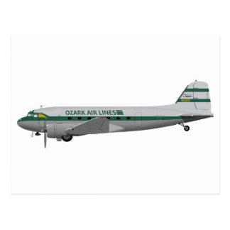 Líneas aéreas de Douglas DC-3 Ozark Tarjeta Postal