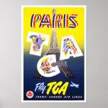 Líneas aéreas de París Francia del vintage del pos Posters