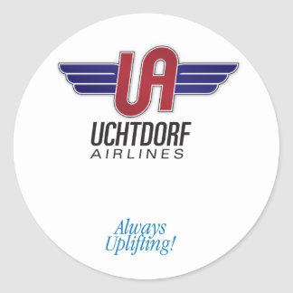 Líneas aéreas de Uchtdorf. Pegatina redondo