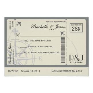 Líneas aéreas del boleto de RSVP Invitacion Personalizada