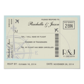 Líneas aéreas del boleto de RSVP Invitación 8,9 X 12,7 Cm
