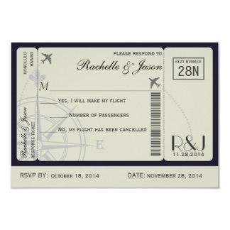 """Líneas aéreas del boleto de RSVP Invitación 3.5"""" X 5"""""""