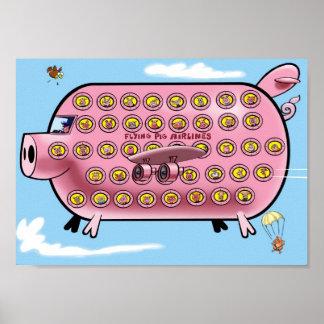 Líneas aéreas del cerdo del vuelo poster