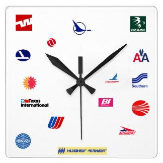 Líneas aéreas, pre-desregulación reloj cuadrado