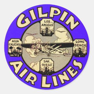 Líneas aéreas retras de Gilpin de los aeroplanos Pegatinas Redondas