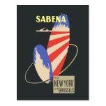 Líneas aéreas retras de Sabena a Nueva York vía Br Tarjeta Postal
