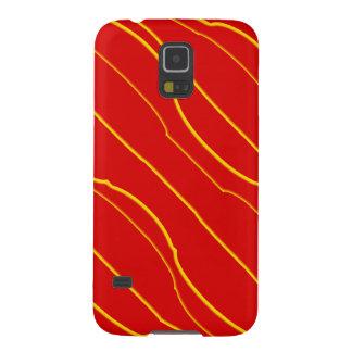 Líneas amarillas en rojo fundas de galaxy s5