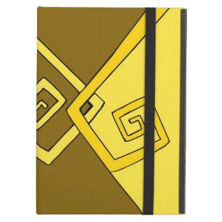 Líneas amarillas retras enrrolladas caso del iPad
