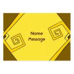 Líneas amarillas retras enrrolladas tarjeta de tarjetas de negocios