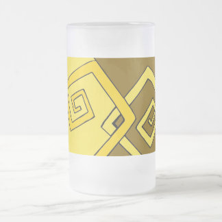 Líneas amarillas retras enrrolladas vidrio taza de cristal