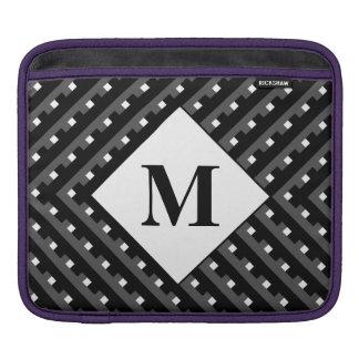 Líneas angulosas negras y grises del monograma funda para iPads