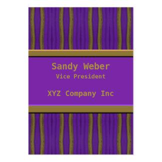 líneas apenadas oro púrpura tarjetas de visita grandes