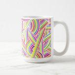 líneas Arco iris-coloreadas del Doodle de la diver Tazas