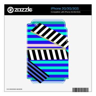 Líneas azules decoración calcomanías para iPhone 2G