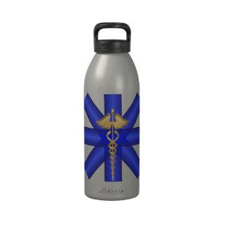 Líneas azules/símbolo del caduceo EMT del oro Botella De Beber