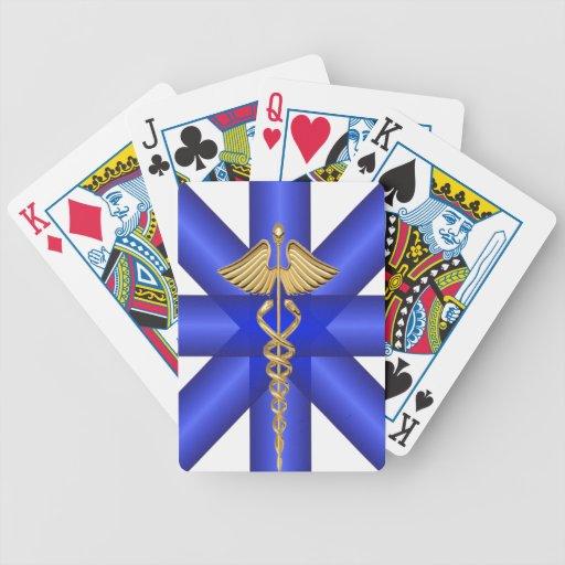 Líneas azules/símbolo del caduceo EMT del oro Cartas De Juego