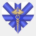 Líneas azules/símbolo del caduceo EMT del oro Pegatinas Corazon