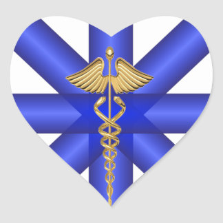Líneas azules/símbolo del caduceo EMT del oro Pegatina En Forma De Corazón