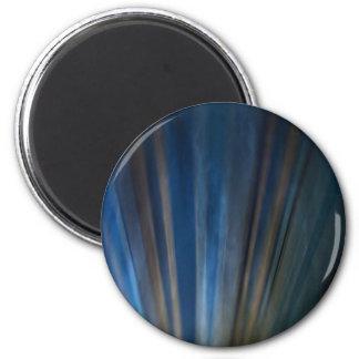 Líneas azules sucias fondo del oro de la textura imán redondo 5 cm
