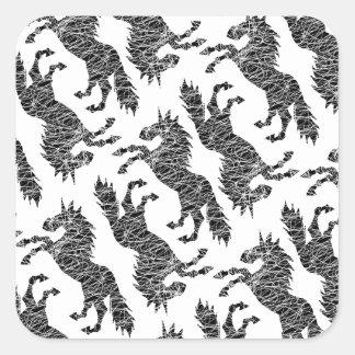 Líneas blancas unicornio pegatina cuadrada
