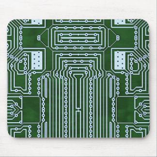 Líneas blancas verdes de la placa de circuito del alfombrilla de ratones