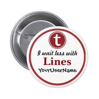 Líneas botón - diseño 1 (blanco) pin redondo de 2 pulgadas
