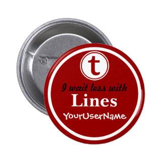 Líneas botón - diseño 1 (rojo) pin redondo de 2 pulgadas