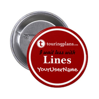 Líneas botón - diseño 2 (rojo) pin redondo de 2 pulgadas