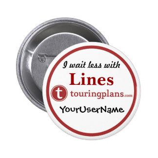 Líneas botón - diseño 3 (blanco) pin redondo de 2 pulgadas