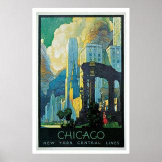 Líneas centrales de Chicago Nueva York del viaje Póster
