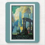 Líneas centrales vintage de Chicago Nueva York Alfombrilla De Ratón