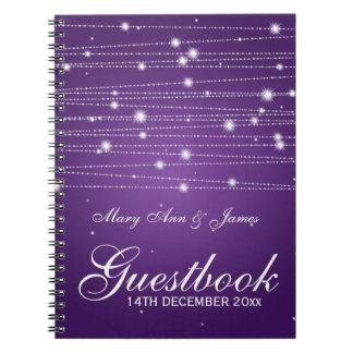 Líneas chispeantes del Guestbook del boda púrpuras Libreta