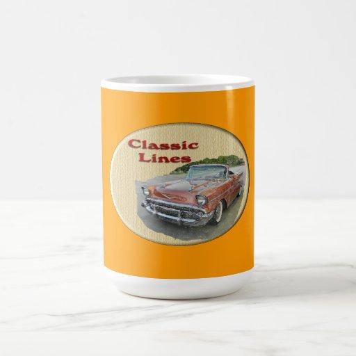 Líneas coche de la obra clásica del vintage taza básica blanca