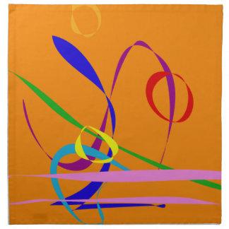 Líneas coloridas contra fondo anaranjado servilletas imprimidas