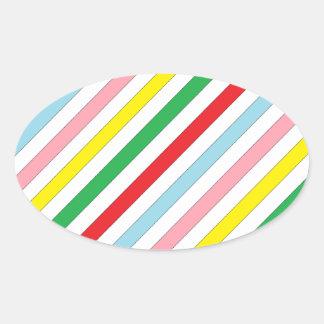 Líneas coloridas de Sideway Pegatina Ovalada