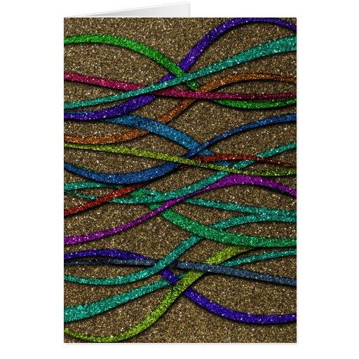 Líneas coloridas del brillo tarjeta