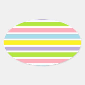 Líneas coloridas pegatina ovalada